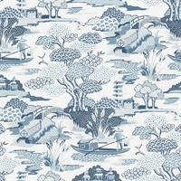Joy De Vie Blue Toile Wallpaper