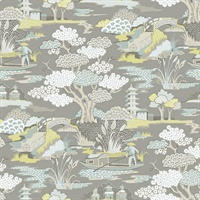 Joy De Vie Grey Toile Wallpaper