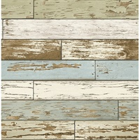 Juda Green Scrap Wood Wallpaper