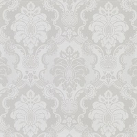 Juliet Light Grey Damask Wallpaper