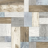 Knock on Wood Multicolor Distressed Wallpaper