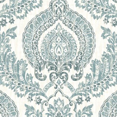 Nu1702 Kensington Damask Blue Peel Stick Wallpaper By Nuwallpaper