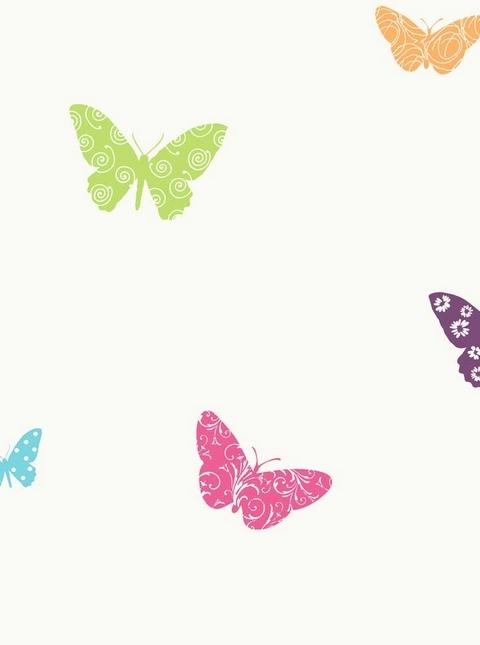 Kd1705 Bright Blue Pink And Orange Butterfly Toile Wallpaper