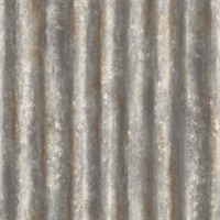Kirkland Charcoal Corrugated Metal Wallpaper