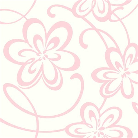 Gk8919 Growing Up Kids Large Floral W Scrolls Removable Wallpaper Totalwallcovering Com