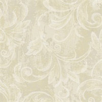 Leaf Scroll Plaster Metallic Wallpaper