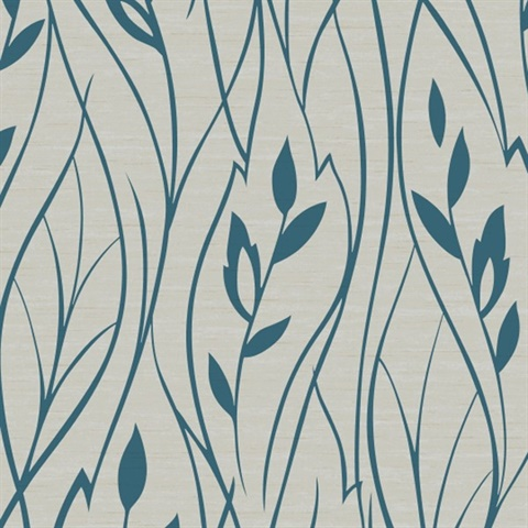 Blue and Grey Leaf Contemporary Wallpaper