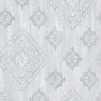 Leana Aqua Medallion Wallpaper