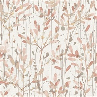 Leandra Coral Floral Trail Wallpaper