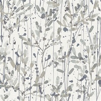 Leandra Grey Floral Trail Wallpaper