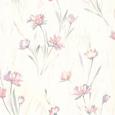 414 37400 Lilly Pink Floral Texture Wallpaper Total Wallcovering