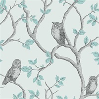 Linden Teal Owl Wallpaper