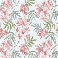 Linen Floral Wallpaper in Blues, Pinks & Green