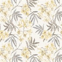 Linen Floral Wallpaper in Cream, Yellow & Greys