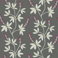 Linnea Elsa Dark Brown Botanical Trail Wallpaper