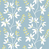 Linnea Elsa Light Blue Botanical Trail Wallpaper