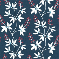 Linnea Elsa Navy Botanical Trail Wallpaper