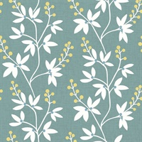 Linnea Elsa Teal Botanical Trail Wallpaper