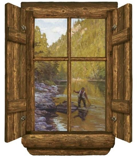 G0504sa gifts for guys totalwallcovering com for Log cabin window