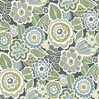 Lucy Green Floral Wallpaper