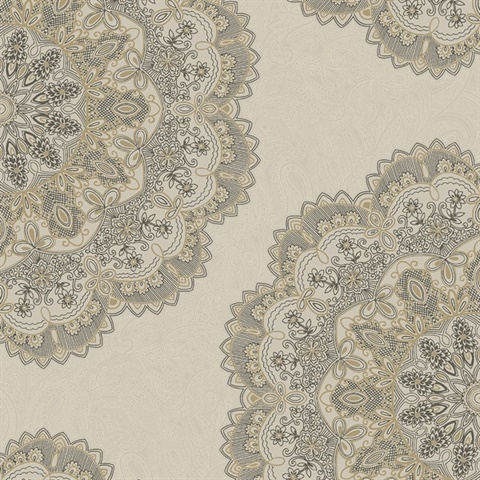 Medallion Metallic Wallpaper