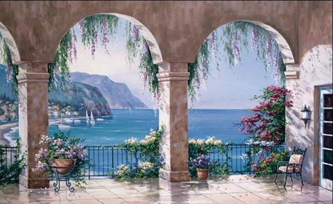 C834 Mediterranean Arch Wall Mural Totalwallcovering Com