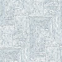 Merritt Indigo Geometric Wallpaper