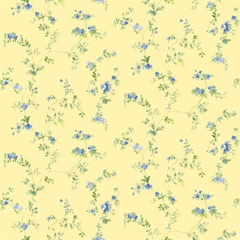 Pink shabby chic bathroom - Sm8580 Green And Yellow Mini Floral Print Wallpaper