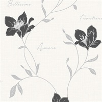 Mischa Black Floral Wallpaper