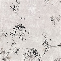 Misty Grey Distressed Dandelion Wallpaper