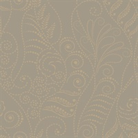 Antique Gold on Taupe Candice Olson Modern Fern Wallpaper