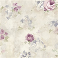 Morning Dew Wallpaper in Plum, Lilac & Cream