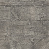 Murray Dark Grey Stone Wall Wallpaper