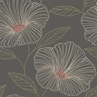 Mythic Brown Floral Wallpaper