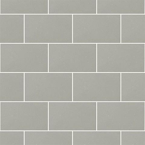 Neale Light Grey Subway Tile Wallpaper