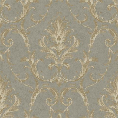 Bq3810 Grey And Brown Neoclassical Damask Wallpaper