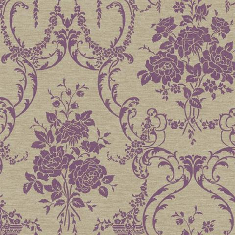 BQ3856 Neoclassical Rose Damask Wallpaper