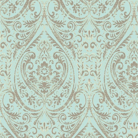 Nomad Damask Turquoise Damask Peel & Stick Wallpaper