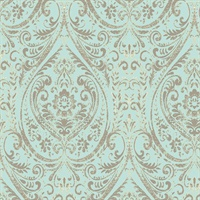 Nu1656 Blue And Green Nouveau Damask Peel Stick Wallpaper By Nuwallpaper