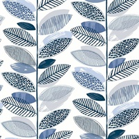 Nyssa Blue Leaves Wallpaper