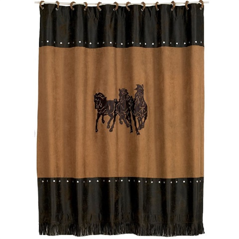 Ocala II Emb 3 Horse Shower Curtain WS3003SC