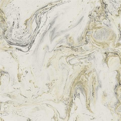 White Black Gold Oil Marble Wallpaper