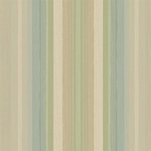 YW1483 Green Blue And Gold Ombre Stripe Wallpaper