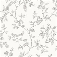 Ophelia Grey Bird Trail Wallpaper