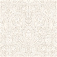 Ornamental Wallpaper in Beige & Vanilla