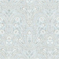 Ornamental Wallpaper in Blues & Greys