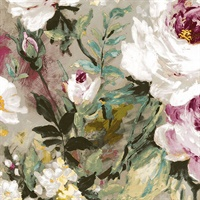 Macau Magenta Painterly Floral Wallpaper