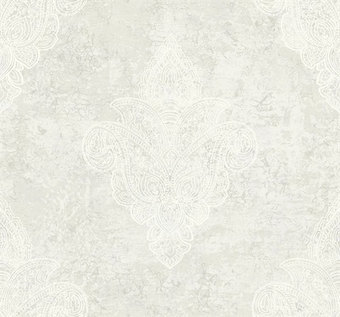 Paisley Spot Damask Wallpaper