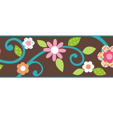Peel and stick scroll floral peel stick border brown teal for Teal peel and stick wallpaper