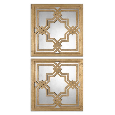 Piazzale Gold Square Mirrors S/2